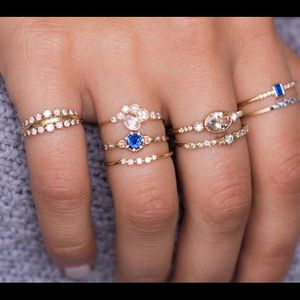 Jewelry - BOHO GLAM Blue & Gold Midi Rings!  New